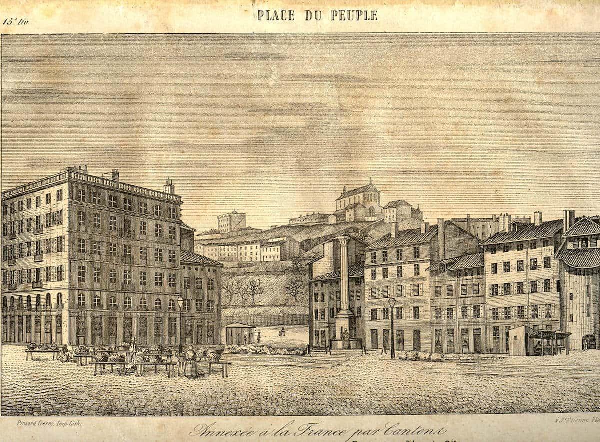 2 FI ICONO 1368, dessin de la place du Peuple, 1850