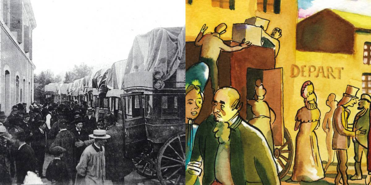2 FI ICONO 1295, diligences en gare de Dunières, 1900